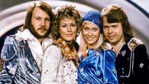 "In this Feb. 9, 1974 file photo Swedish pop group Abba, from left: Benny Andersson, Anni-Frid Lyngstad, Agnetha Faltskog and Bjorn Ulvaeus posing after winning the Swedish branch of the Eurovision Song Contest with their song ""Waterloo"". The members of ABBA announced Friday April 27, 2018 that they have recorded new material for the first time in 35 years. (Olle Lindeborg/TT NEWS AGENCY via AP)"