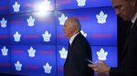 Toronto Maple Leafs general manager Lou Lamoriello enters an end of season press conference in Toronto on April 27, 2018. The Toronto Maple Leafs say that Lou Lamoriello will not return as general manager next season. THE CANADIAN PRESS/Cole Burston