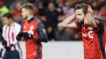 Toronto FC's Drew Moor (3) reacts after missing a goal scoring chance during second half CONCACAF Champions League final first leg action against Chivas de Guadalajara, in Toronto on Tuesday, April 17, 2018. THE CANADIAN PRESS/Chris Young