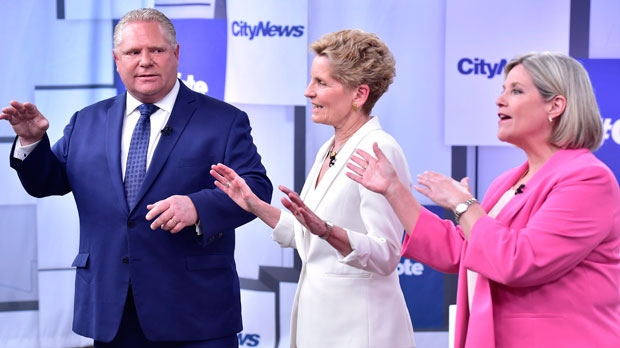 Liberal Premier Kathleen Wynne, centre, Progressive Conservative Leader Doug Ford, left, and NDP Leader Andrea Horwath take part in the Ontario Leaders debate in Toronto on Monday, May 7, 2018. This is the first of three debates scheduled before the June 7 vote. THE CANADIAN PRESS/Frank Gunn