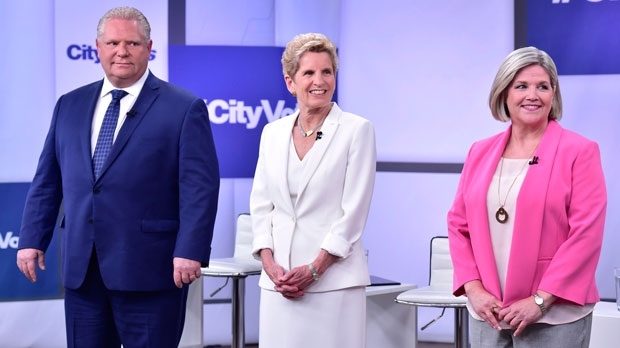 Image result for images of leaders debate ontario 2018