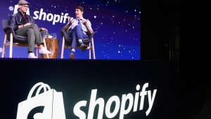 Prime Minister Justin Trudeau participates in an armchair discussion with Shopify CEO Tobias Lutke in Toronto on Tuesday, May 8, 2018. THE CANADIAN PRESS/Nathan Denette