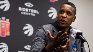 Toronto Raptors president Masai Ujiri speaks to media at an end-of-season availability in Toronto on Wednesday, May 9, 2018. THE CANADIAN PRESS/Aaron Vincent Elkaim