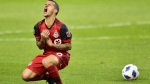 Toronto FC forward Sebastian Giovinco reacts after being fouled by a Seattle Sounders FC player during first half MLS soccer action in Toronto on Wednesday, May 9, 2018. THE CANADIAN PRESS/Frank Gunn