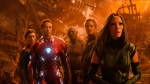 "This image released by Marvel Studios shows, from left, Tom Holland, Robert Downey Jr., Dave Bautista, Chris Pratt and Pom Klementieff in a scene from ""Avengers: Infinity War."" (Marvel Studios via AP)"