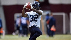 Toronto Argonauts' James Wilder Jr. takes part in the Grey Cup East Division champions practice in Ottawa on Wednesday, Nov. 22, 2017. The Argonauts have signed running back Wilder Jr. to a two-year contract extension through the 2019 season. THE CANADIAN PRESS/Sean Kilpatrick