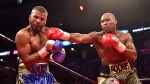 Adonis Stevenson, right, and Badou Jack exchange blows during their WBC light-heavyweight championship boxing match in Toronto on Saturday, May 19, 2018. THE CANADIAN PRESS/Frank Gunn