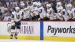 The Vegas Golden Knights celebrate after Ryan Reaves (75) scored during second period NHL Western Conference Finals game 5 hockey action against the Winnipeg Jets, in Winnipeg, Sunday, May 20, 2018. THE CANADIAN PRESS/Trevor Hagan