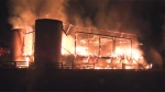 Firefighters were called to battle a blaze at Sunnybrook Stables on Monday morning.