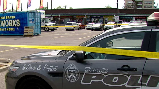 Police are seen on the scene of a shooting in the area of Sheppard Avenue and Jane Street on May 21, 2018.
