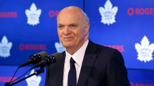 Toronto Maple Leafs general manager Lou Lamoriello speaks to reporters in Toronto on Friday, April 27, 2018. THE CANADIAN PRESS/Cole Burston