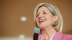 Provincial NDP Leader Andrea Horwath speaks to a packed room of supporters at an NDP rally in Brampton, Monday, May 21, 2018. THE CANADIAN PRESS/Galit Rodan
