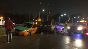Police are searching for a suspect wanted in connection with a wrong-way crash on the Jameson Avenue off-ramp early Tuesday morning. (Mike Nguyen/ CP24)