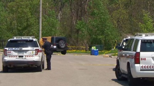 York Regional Police in Richmond Hill where the body of a man was found behind the wheel of a Jeep.