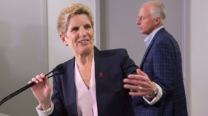 Ontario Liberal Leader Kathleen Wynne makes an announcement at the Mothers Against Drunk Driving office in Toronto on Tuesday, May 22, 2018. THE CANADIAN PRESS/Chris Young