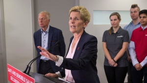Ontario Liberal Leader Kathleen Wynne takes a question after making an announcement at the Mothers Against Drunk Driving office in Toronto on Tuesday, May 22, 2018. THE CANADIAN PRESS/Chris Young
