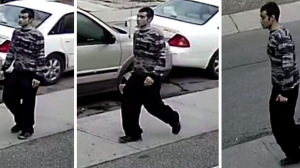 Surveillance camera images show a man wanted in connection with an incident in the Harbord Village area. (Toronto police handout)