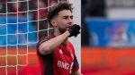 Toronto FC's Jonathan Osorio celebrates scoring against the Chicago Fire during first half MLS soccer action in Toronto on Saturday, April 28, 2018. THE CANADIAN PRESS/Chris Young