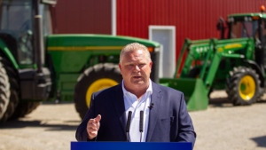 Ontario PC leader Doug Ford makes an announcement during a campaign stop on a farm in the town of Lakeshore, Ont. on Wednesday, May 23, 2018. THE CANADIAN PRESS/ Geoff Robins