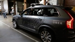 In this Dec. 13, 2016 file photo, an Uber driverless car is displayed in a garage in San Francisco. (AP Photo/Eric Risberg, File)