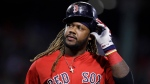 In this Sept. 29, 2017, file photo, Boston Red Sox designated hitter Hanley Ramirez takes off his batting helmet after grounding out with bases loaded during the sixth inning of a baseball game against the Houston Astros, at Fenway Park in Boston. The Red Sox have designated Hanley Ramirez for assignment to make room for Dustin Pedroia on the 25-man roster as he returns from the disabled list. (AP Photo/Charles Krupa, FIle)