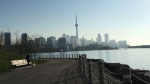 The Toronto skyline is seen from the waterfront near Ontario Place on a sunny morning. (Joshua Freeman /CP24)