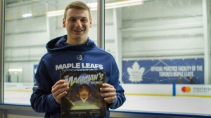 "Toronto Maple Leafs forward Zach Hyman, shown in a handout photo, is known for his hustle and forechecking. But off the ice, he has a growing reputation as an author. His third children's book, titled ""The Magician's Secret,"" is now out. THE CANADIAN PRESS/HO-Ryan Parker MANDATORY CREDIT"