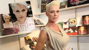 "In this April 11, 2011 file photo, actress Brigitte Nielsen launches her autobiography, ""You Only Get One Life"", at the London Book Fair, Earl's Court Exhibition Centre, London.  (AP Photo/Joel Ryan, File)"