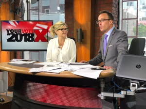 Nick Dixon and Stephanie Smyth are seen rehearsing for the CP24's Ontario election special.