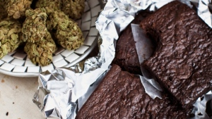 This undated file image provided by Elise McDonough via Chronicle Books shows brownies made from a recipe in the 'The Official High Times Cannabis Cookbook.' (AP / Elise McDonough)