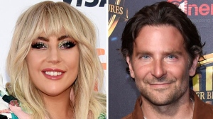 "This combination of photos shows Lady Gaga, left, at a premiere for ""Gaga: Five Foot Two"" at the Toronto International Film Festival in Toronto on Sept. 8, 2017 and Bradley Cooper at the Warner Bros. presentation at CinemaCon 2018, at Caesars Palace in Las Vegas on April 24, 2018. (Invision/AP)"