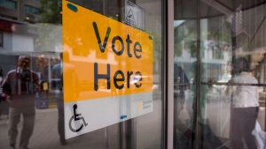 An Elections Ontario sign is seen at University - Rosedale voting location at the Toronto Reference Library on Thursday, June 7, 2018. THE CANADIAN PRESS/Marta Iwanek