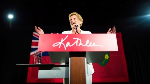 Former Ontario Premier Kathleen Wynne acknowledges her supporters following the election results in Toronto on Thursday, June 7, 2018. THE CANADIAN PRESS/ Tijana Martin