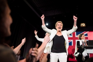 Former Ontario Premier Kathleen Wynne celebrates her political career after announcing to supporters that she is stepping away from her Liberal seat during her election night party at York Mills Gallery in Toronto on Thursday, June 7, 2018. THE CANADIAN PRESS/ Tijana Martin