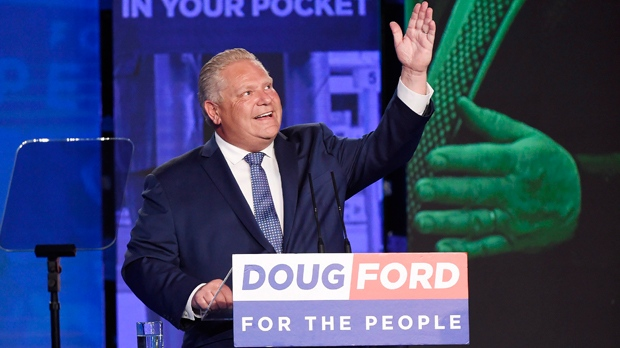 Ontario PC leader Doug Ford looks up while giving a tribute to his late brother Rob as he reacts after winning the Ontario Provincial election to become the new premier in Toronto, on Thursday, June 7, 2018. THE CANADIAN PRESS/Nathan Denette