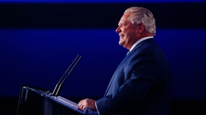 Ontario PC leader Doug Ford speaks to supporters after winning a majority government in the Ontario Provincial election in Toronto, on Thursday, June 7, 2018. THE CANADIAN PRESS/Mark Blinch