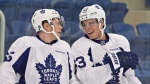 Toronto Maple Leafs first round draft pick Auston Matthews, right, chats with fellow prospect Nolan Vesey between drills as the Leafs hold their development camp in Niagara Falls, Ont., Tuesday, July 5, 2016. THE CANADIAN PRESS/Aaron Lynett
