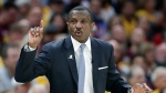 FILE - In this May 7, 2018, file photo, Toronto Raptors head coach Dwane Casey gestures during the first half of Game 4 of an NBA basketball second-round playoff series against the Cleveland Cavaliers in Cleveland. Two people familiar with the situation say the Detroit Pistons have agreed to a five-year contract with coach Dwane Casey. The people spoke Monday morning, June 11, 2018, to The Associated Press on condition of anonymity because the team had not announced the move. (AP Photo/Tony Dejak, File)