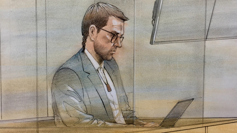 Dellen Millard is seen in this court sketch, Monday, June 11, 2018.