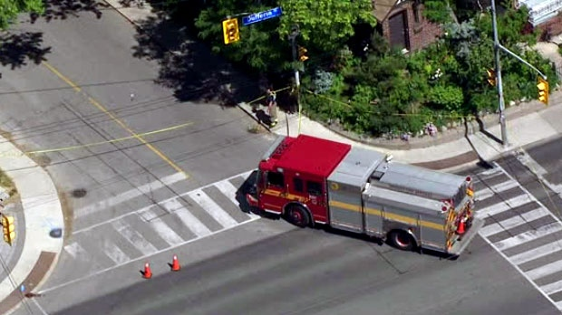 Emergency crews are seen responding to an apparent hit-and-run in the city's Briar Hill area.