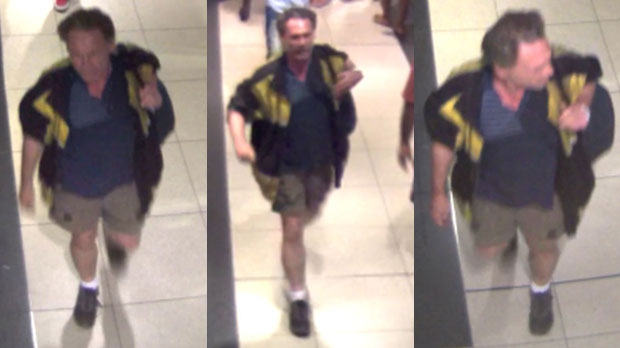 A suspect wanted in connection with an assault at the Toronto Eaton Centre is seen in these surveillance camera images. (Toronto police handout)