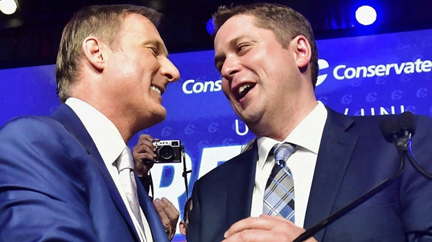 Andrew Scheer, right, is congratulated by Maxime Bernier after being elected the new leader of the federal Conservative party at the federal Conservative leadership convention in Toronto on Saturday, May 27, 2017. Bernier lost the Conservative leadership race, but he remained the top fundraiser right to the end. THE CANADIAN PRESS/Frank Gunn