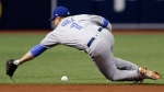 Toronto Blue Jays shortstop Aledmys Diaz dives but can't get to a single by Tampa Bay Rays' Jake Bauers during the first inning of a baseball game Tuesday, June 12, 2018, in St. Petersburg, Fla. (AP Photo/Chris O'Meara)