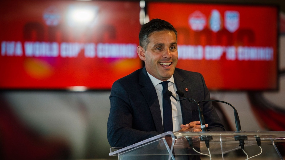 National team head coach, John Herdman discusses the successful joint North American bid by Canada, the U.S. and Mexico to host the 2026 World Cup at a press conference in Toronto on Wednesday, June 13, 2018. THE CANADIAN PRESS/Christopher Katsarov