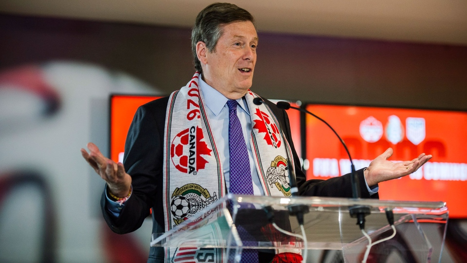 Toronto mayor John Tory discusses the successful joint North American bid by Canada, the U.S. and Mexico to host the 2026 World Cup at a press conference in Toronto on Wednesday, June 13, 2018. THE CANADIAN PRESS/Christopher Katsarov
