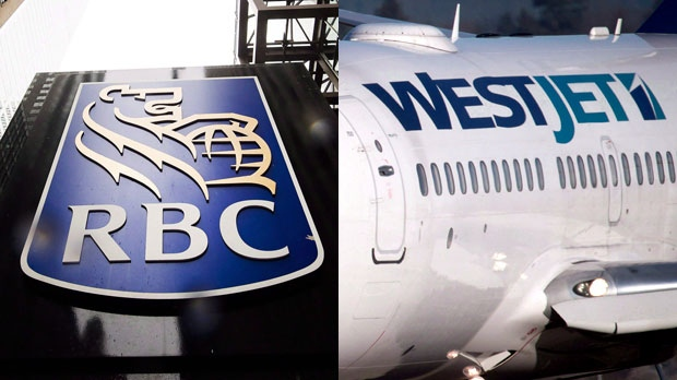 A Royal Bank of Canada sign and the logo for WestJet are seen in this composite image. (The Canadian Press)