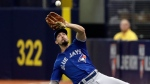 Toronto Blue Jays right fielder Randal Grichuk makes a sliding catch on a pop out by Tampa Bay Rays' Matt Duffy during the first inning of a baseball game Wednesday, June 13, 2018, in St. Petersburg, Fla. (AP Photo/Chris O'Meara)