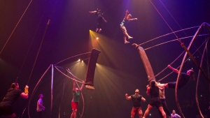 Performers rehearse the 'swing to swing' part of the show before a dress rehearsal for the Toronto opening of Cirque Du Soleil's latest creation 'Luzia' on July 27, 2016. Cirque du Soleil Entertainment Group is planning to build family entertainment centres in retail spaces. The centres will allow guests to try bungee jumping, aerial parkour, wire and trampolines, mask design, juggling, circus and dance activities. Cirque du Soleil has partnered with real estate giant Ivanhoe Cambridge to open the first centre in the Greater Toronto Area next September. THE CANADIAN PRESS/Chris Young