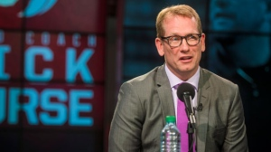 Nick Nurse is introduced as the new NBA head coach of the Toronto Raptors at the Air Canada Centre in Toronto on Thursday, June 14, 2018. THE CANADIAN PRESS/ Tijana Martin