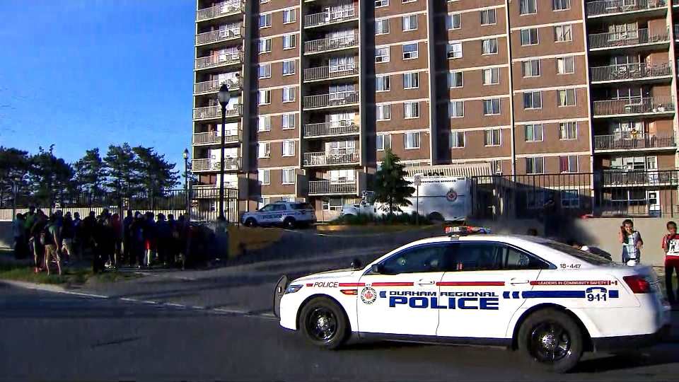 The scene of a shooting in Whitby is seen.